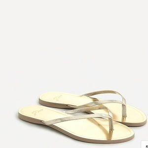 J.Crew Leather Metallic Gold Capri Sandals
